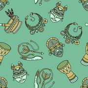 Seamless pattern with voodoo symbols. Stock Illustration