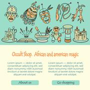Voodoo magic web template. Mystic card with place for your text. Stock Illustration