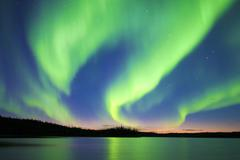 Aurora borealis (northern lights), boreal forest, Yellowknife environs, Stock Photos