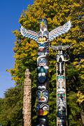 Totem poles at Brockton Point, Stanley Park, Vancouver, British Columbia, Canada Stock Photos