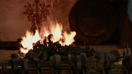 Fire in the forge furnace Stock Footage