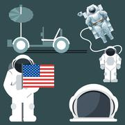 Digital vector silver and white astronauts icon Piirros