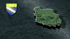 Aube with Coat Of Arms Animation Map Stock Footage