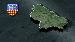 Charente with Coat Of Arms Animation Map Stock Footage