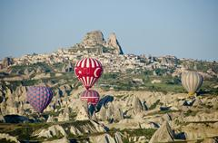 Ballooning at Goreme, Cappadocia, also Capadocia, Central Anatolia, largely in Stock Photos