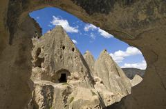 Cave dwelling in Cappadocia, also Capadocia, Central Anatolia, largely in Stock Photos