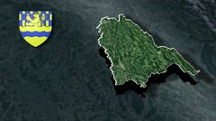 Doubs with Coat Of Arms Animation Map Stock Footage