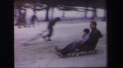 1972: many people are skating on the ice of the mountain LYNBROOK, NEW YORK Stock Footage