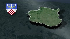 Eure-et-Loir with Coat Of Arms Animation Map Stock Footage