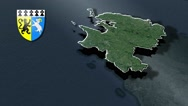 Finistere with Coat Of Arms Animation Map Stock Footage