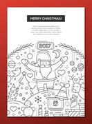Merry Christmas - line design brochure poster template A4 Stock Illustration
