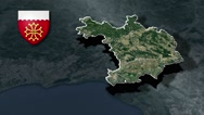 Gard with Coat Of Arms Animation Map Stock Footage