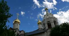The spire of the Church of St. Zosima and Savvaty of Solovki Stock Footage
