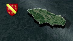 Haut-Rhin with Coat Of Arms Animation Map Stock Footage