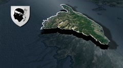 Haute-Corse with Coat Of Arms Animation Map Stock Footage