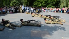Marines of Ukraine, the movement in a fighting order. Stock Footage