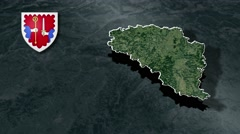 Haute-Loire with Coat Of Arms Animation Map Stock Footage