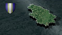 Haute-Marne with Coat Of Arms Animation Map Stock Footage