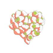 Heart shape by strawberries Stock Illustration