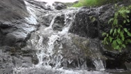 Amazing Waterfall Water Flows Over Big Rocks of Hills Nature Footage Stock Footage