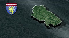 Haute-Saone with Coat Of Arms Animation Map Stock Footage
