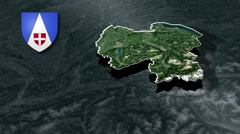 Haute-Savoie with Coat Of Arms Animation Map Stock Footage