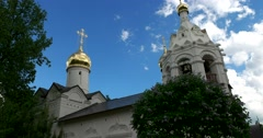 The domes and spires of Cathedrals of the temple complex of the monastery Stock Footage