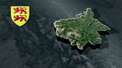 Hautes-Pyrenees with Coat Of Arms Animation Map Stock Footage