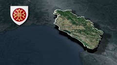 Herault with Coat Of Arms Animation Map Stock Footage