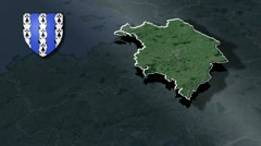 Ille-et-Vilaine with Coat Of Arms Animation Map Stock Footage