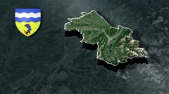Isere with Coat Of Arms Animation Map Stock Footage