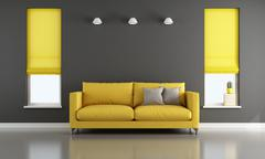 Black and yellow living room Piirros
