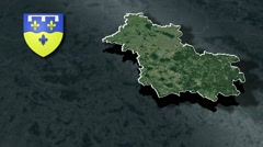 Loir-et-Cher with Coat Of Arms Animation Map Stock Footage