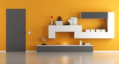 Modern living room with ecological fireplace Stock Illustration