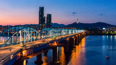 Time lapse of  Dongjak Bridge and Han river in Seoul, South Korea Stock Footage