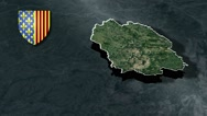 Lozere with Coat Of Arms Animation Map Stock Footage