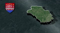 Lot with Coat Of Arms Animation Map Stock Footage