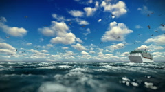 Cruise ship sailing, time lapse afternoon clouds and seagulls, sound included Stock Footage