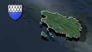 Morbihan with Coat Of Arms Animation Map Stock Footage