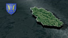 Meuse with Coat Of Arms Animation Map Stock Footage