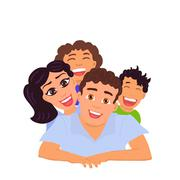Happy family dad, mom, daughter and son. Vector Stock Illustration