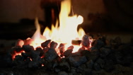 Burning flame in the fireplace Stock Footage