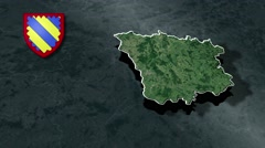 Nievre with Coat Of Arms Animation Map Stock Footage