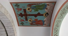 The restored painting in the Church of St John the Baptist, frescoes Stock Footage