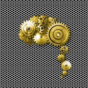 Gold metal gear on metallic mesh background look like a human brain. Stock Illustration