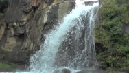 High Waterfall from Big Rocks of Mountain Nature Forest Scenery Stock Footage