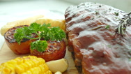 Grilled BBQ pork rib steak with sauce Stock Footage
