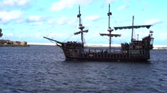 Pirate ship sailing in sea Stock Footage