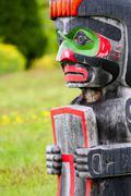 Memorial totem poles at the Namgis Burial Grounds, Alert Bay, Cormorant Island, Stock Photos