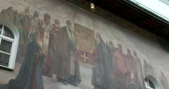 Fresco painting of the Holy gate to the themes of the life of St. Sergius Stock Footage
